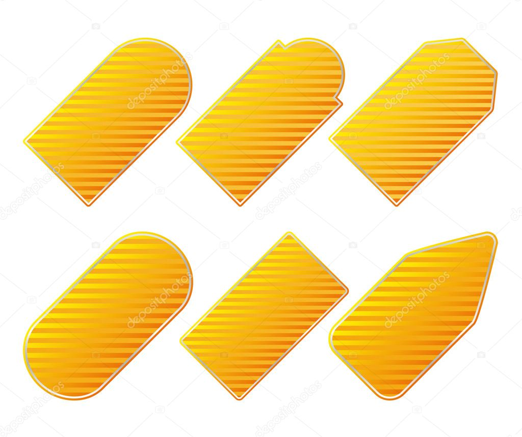 Vector striped yellow price tags — Stock Vector #6815070