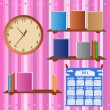 Child room with book shelves, clock and calendar — Stock Vector