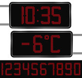Digital Clock and Thermometer — Stok Vektör