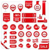Vecteur des étiquettes de prix, des étiquettes, des autocollants, des flèches et des rubans — Vecteur