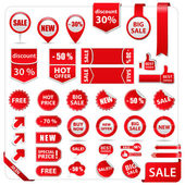 Vector price tags, labels, stickers, arrows and ribbons — Stok Vektör