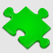 Icon of green puzzle piece — Stock Vector