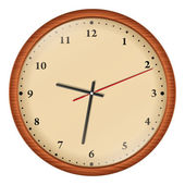 Wooden Wall Clock — Stock Vector