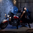 Woman Is Sitting On The Motorcycle — Foto Stock