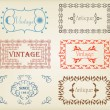 Vintage brown label frame vector background element set — Imagen vectorial