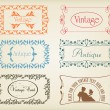Vintage brown label frame vector background element set - Stock Vector