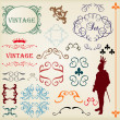 Vintage brown label frame vector background element set — Stok Vektör