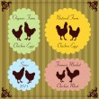 Farm birds egg and meat labels illustration collection — Stock Vector