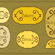 Vintage bakery labels frames and elements illustration collection — 图库矢量图片
