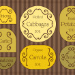 Vintage organic cheese label frames and elements illustration collection — Vetor de Stock  #7102384