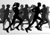 Marathon runners in skyscraper city landscape background illustration — Stock Vector