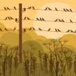 Royalty-Free Stock Vector Image: Birds on wires in autumn countryside landscape background illustration