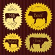 Beef cattle food labels illustration collection - Imagen vectorial