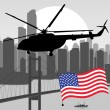 Royalty-Free Stock Vector Image: Helicopter with USA flag in skyscraper city landscape background illustrati