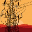 Royalty-Free Stock 矢量图片: High voltage tower and line background vector