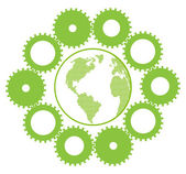 Green eco planet with concept of innovation gears around it vector backgrou — Vector de stock