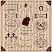 Vintage labels and elements illustration collection — Stock Vector