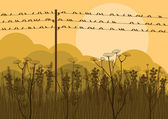 Birds on wires in autumn countryside landscape background illustration — Stock Vector