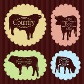 Beef cattle food labels illustration collection — Stock Vector