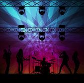 Neon ışıkları ile rock band vektör arka plan — Stok Vektör