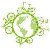 Green ecological bicycle driving planet vector background concept — Stock Vector