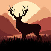 Deer in wild nature landscape illustration — Cтоковый вектор