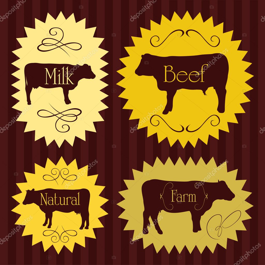 Beef cattle food labels illustration collection for poster — Stock Vector #7347798