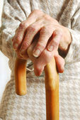 Old Ladies hands with walking stick — Stockfoto