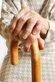 Staré dámy ruce s vycházkovou holí — Stock fotografie