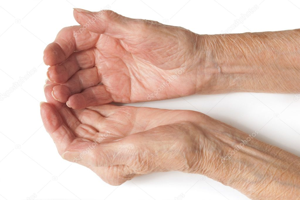 My mother at 90 years old with arthritic hand — Stock Photo #7229217