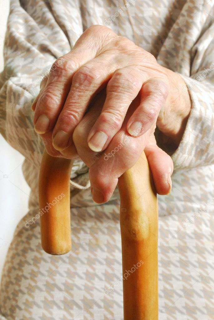 My mother at 90 years old with arthritic hand — Stock Photo #7229221