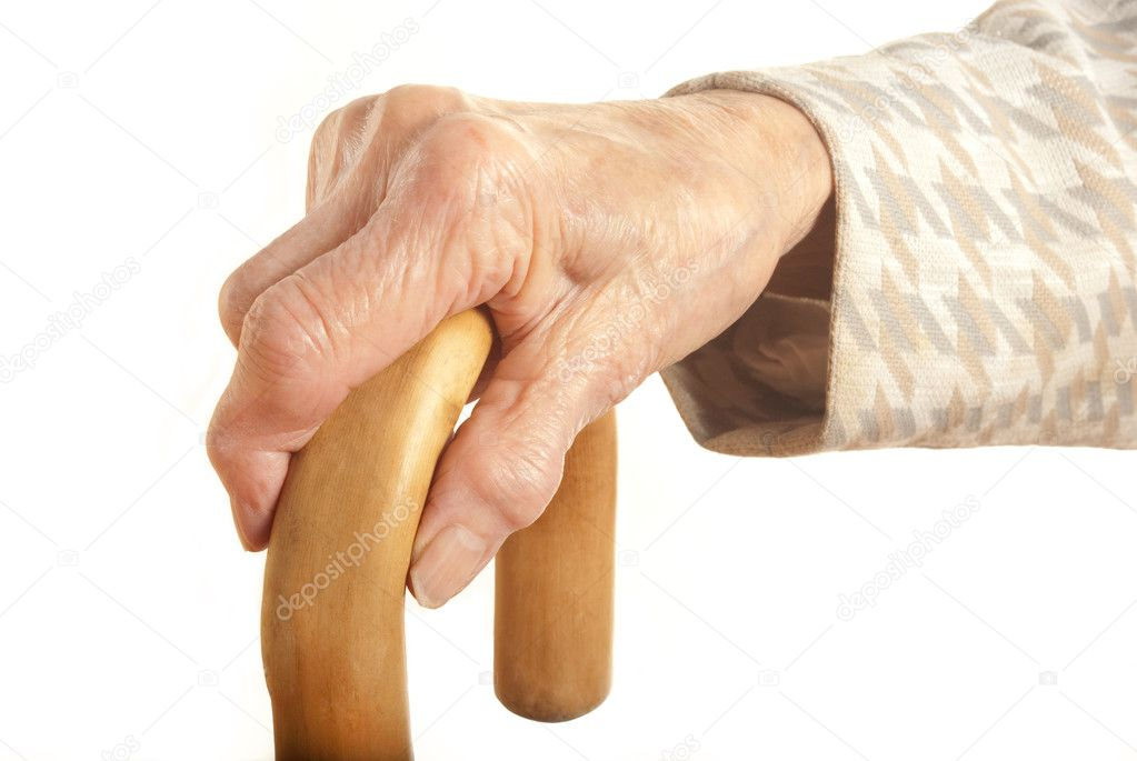 My mother at 90 years old with arthritic hand — Stock Photo #7229226