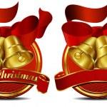Christmas Bells Web Banner Red — Stock Vector
