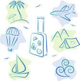 Iconos de viajes y turismo, ilustración vectorial — Vector de stock