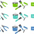 Set of tools icons (three colors) - Stok Vektör