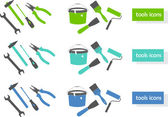 Set of tools icons (three colors) — Vecteur