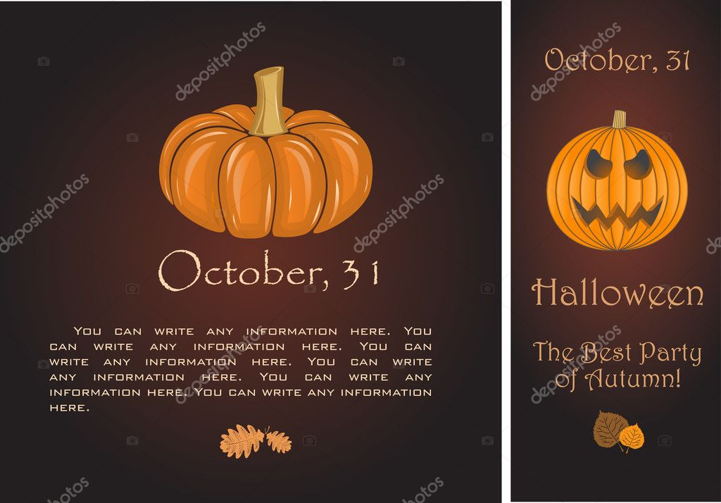 Banners of Halloween pumpkin. Vector Illustration.  Stock Vector #7295645