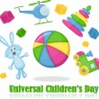 Different toys around the ball, universal children's day — Imagen vectorial