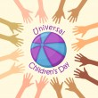 Color hands around the ball, universal children's day — Imagen vectorial