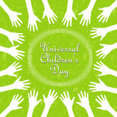 Hands around the text, universal children's day — Vettoriale Stock