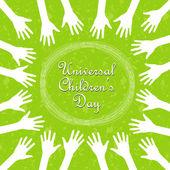 Hands around the text, universal children's day — Cтоковый вектор