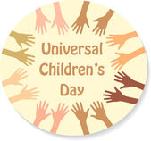 Color hands around the text (sticker), universal children's day — Vector de stock