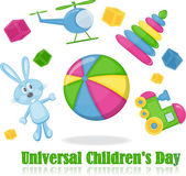 Different toys around the ball, universal children's day — Vecteur