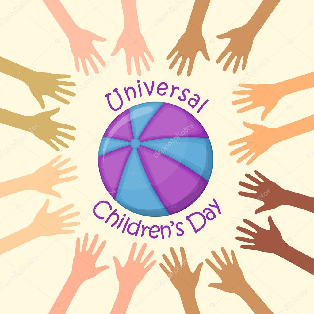 Color hands around the ball, universal children's day. Vector Illustration. — Stock Vector #7499582