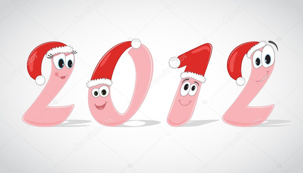 Funny digits of the year 2012 in christmas caps. Vector Illustration. — Stock Vector #7607524