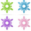 Set of snowflakes, isolated icons - Stok Vektör