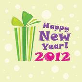 Groene geschenk, briefkaart gelukkig nieuw jaar 2012 — Stockvector