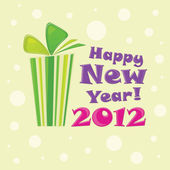 Yeşil hediye, kartpostal mutlu yeni yıl 2012 — Stok Vektör
