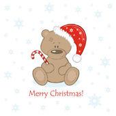 Oso de peluche de navidad en la campana roja con dulce — Vector de stock