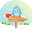 Blue bird on the waymark, vector illustration — Imagens vectoriais em stock